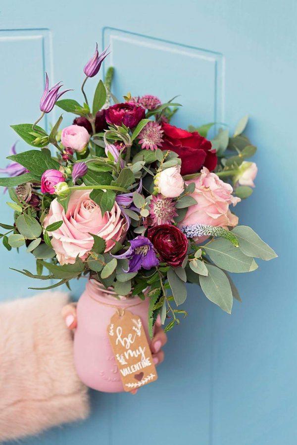 Wild Frost Florist Cambridgeshire Jam Jar Floral Arrangement